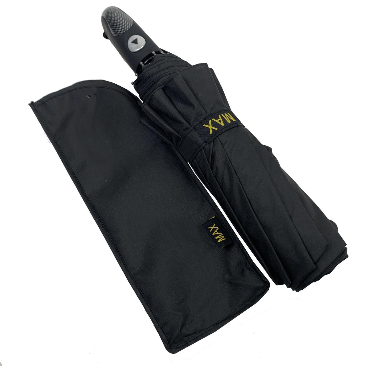 """Мужской складной зонт-полуавтомат на 10 спиц с системой """"антиветер"""" от Max, черный, 261"""