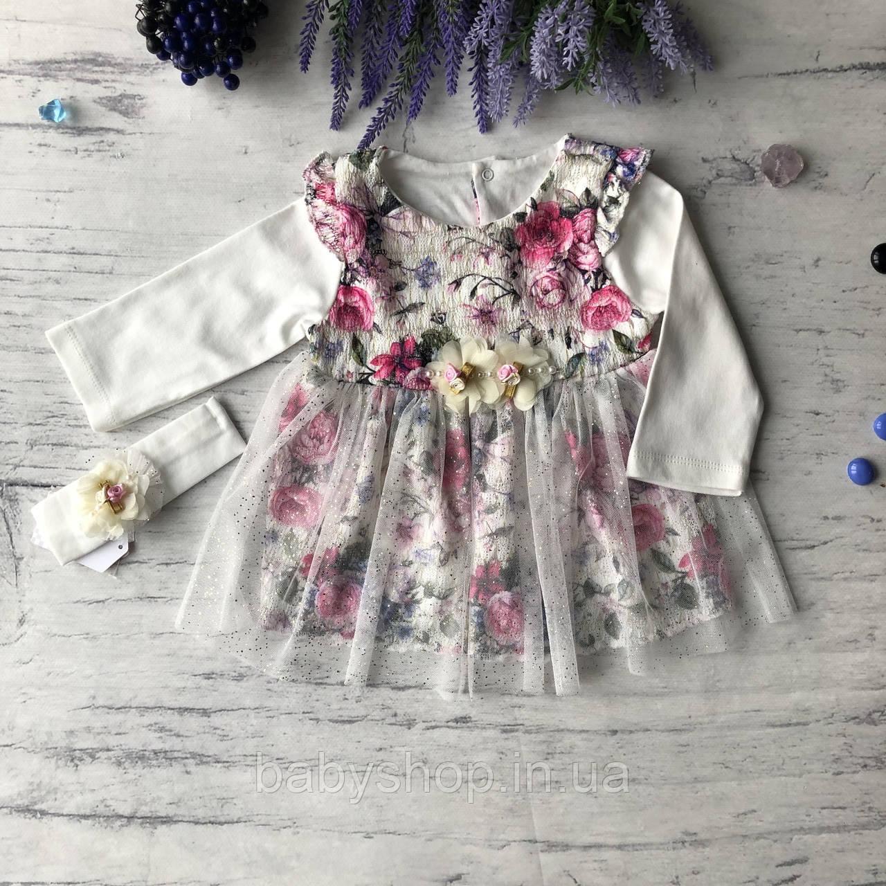 Нарядное платье с повязкой на девочку 269. Размер 56 см, 62 см, 68 см