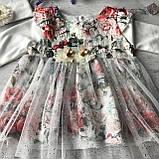 Нарядное платье с повязкой на девочку 270. Размер 56 см, 62 см, 68 см, 74 см, фото 2