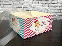 """Коробка для десертів 160*160*80 з прозорою кришкою ПВХ """"Побажайки"""" без вставки, фото 1"""