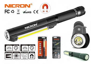Универсальный фонарик NICRON WL15 500+120LM с торцевым магнитом (COB+Seoul LED / 5 Режимов / Питание AAA*3)