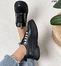 Черные кроссовки женские кожаные, фото 3