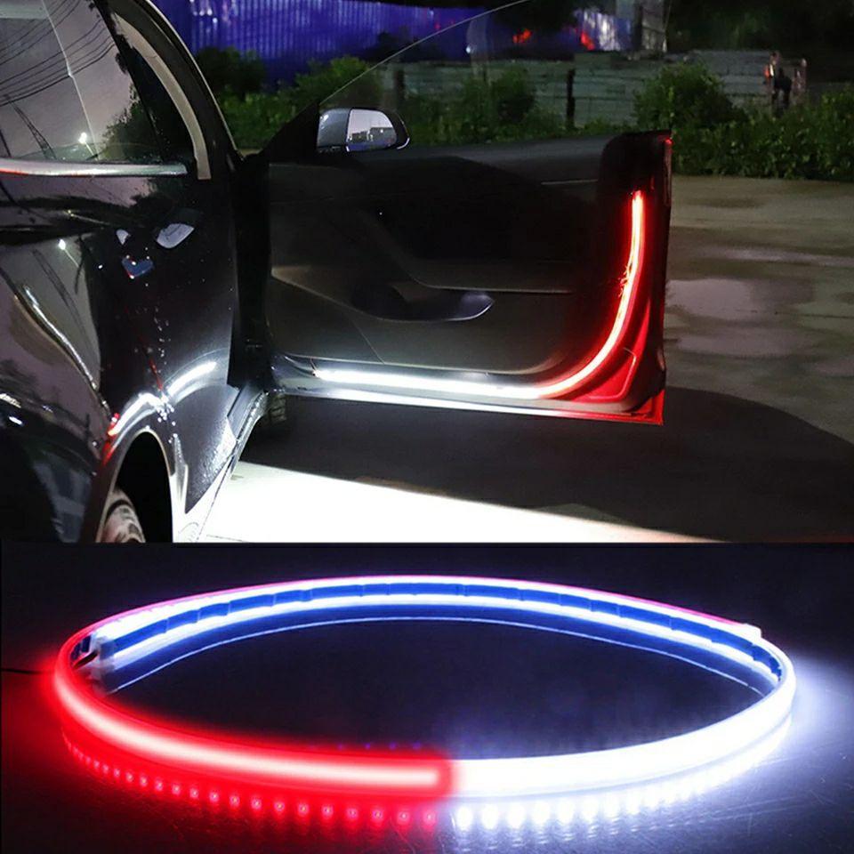 Подсветка дверей динамическая в авто, светодиодная LED подсветка дверей автомобиля 2 ленты х 1,2м Стробоскопы