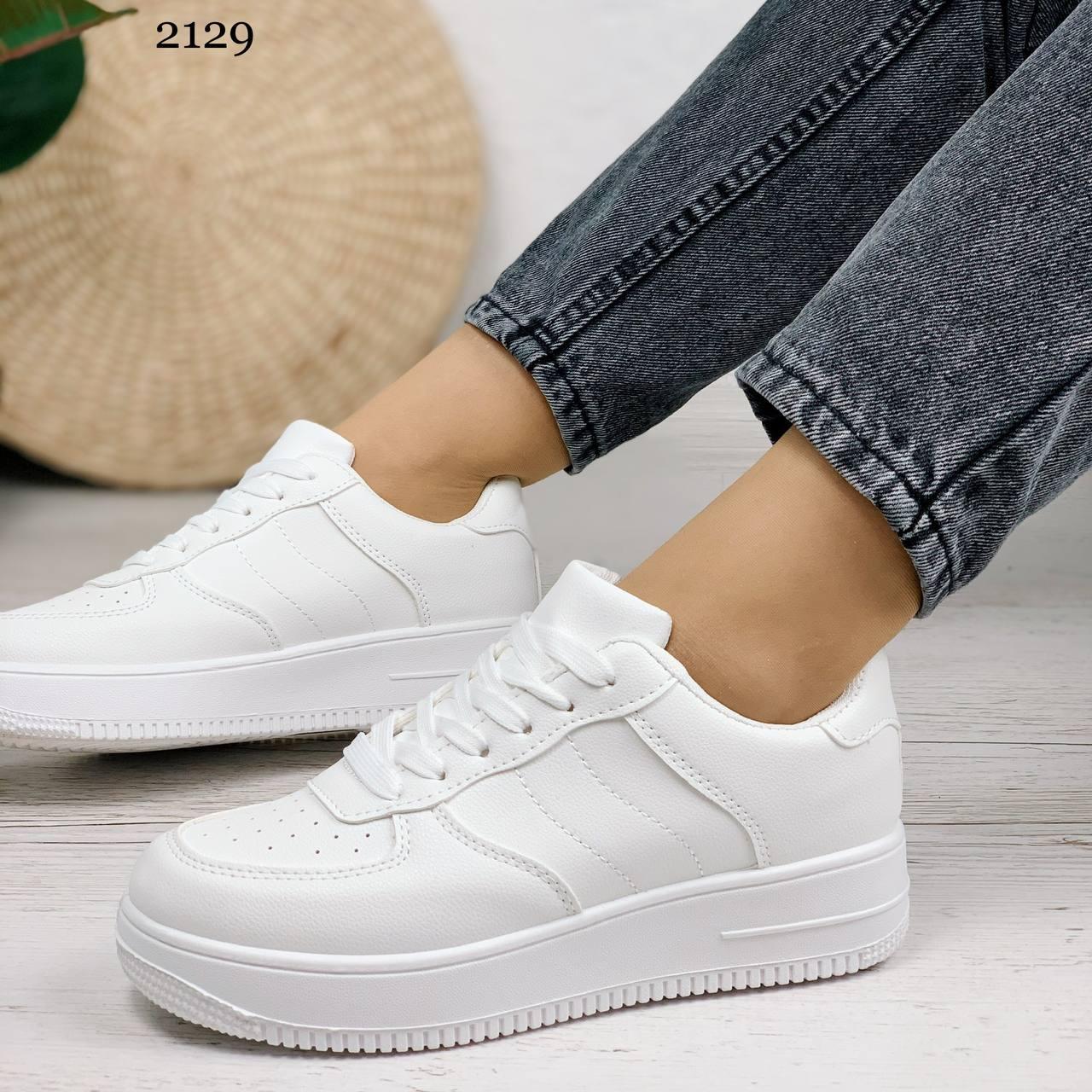 Женские кроссовки белые эко-кожа