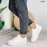 Женские кроссовки белые эко-кожа, фото 2