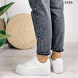 Женские кроссовки белые эко-кожа, фото 3