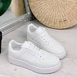 Женские кроссовки белые эко-кожа, фото 6