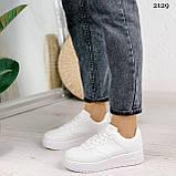 Женские кроссовки белые эко-кожа, фото 10