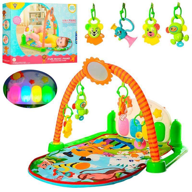 Детский развивающий музыкальный коврик-пианино для малышей HY68109 с подвесными игрушками и зеркальцем
