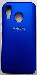 Силиконовый чехол-накладка Color Silk для Samsung A40 Blue