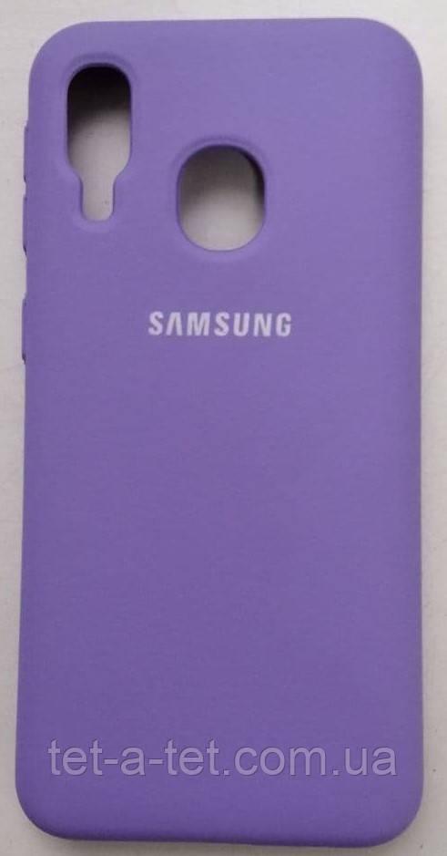 Силиконовый чехол-накладка Color Silk для Samsung A40 Lavanda