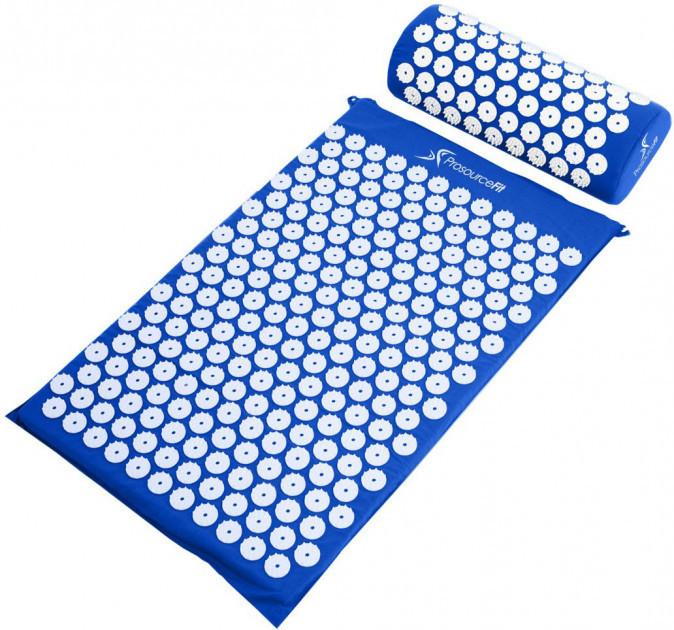 Коврик ортопедический массажный Acupressure mat с подушкой. СИНИЙ
