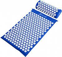 Коврик ортопедический массажный Acupressure mat с подушкой. СИНИЙ, фото 1