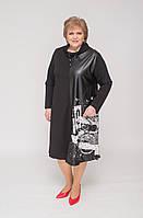 Сукня трикотажне спортивне чорного кольору з шкіряною вставкою