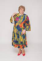 Платье трикотажное в яркий орнамент с оборками, фото 1