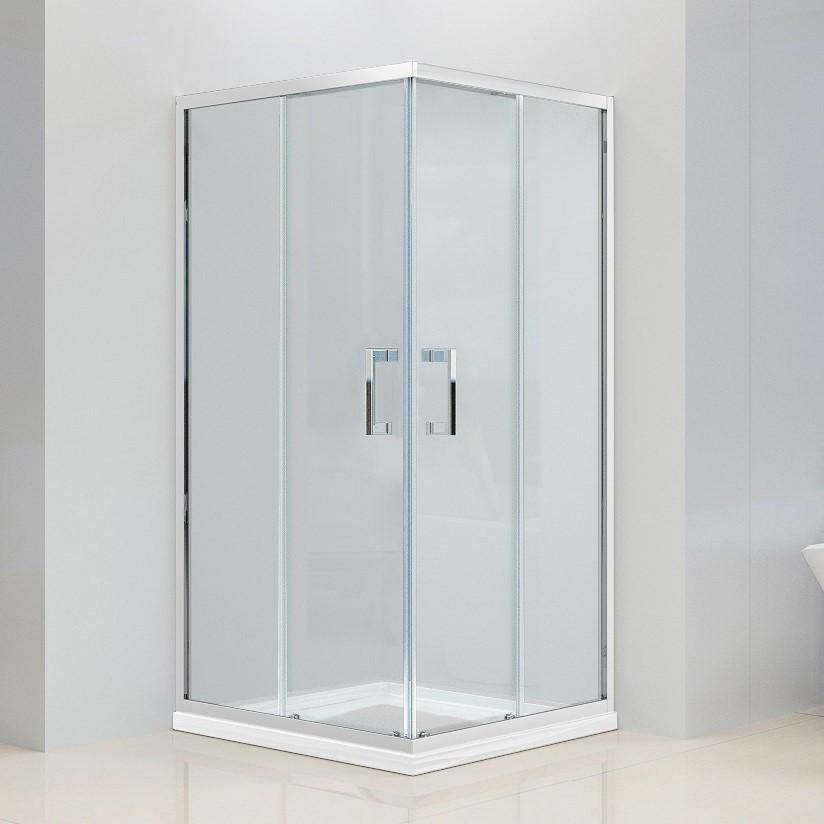 Душевая кабина Dusel А-513, 100х100х190, двери раздвижные, стекло прозрачное