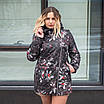 Женская куртка большого размера  весенняя  50-60 светлый принт, фото 4