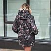 Женская куртка большого размера  весенняя  50-60 светлый принт, фото 5