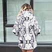 Женская куртка большого размера  весенняя  50-60 светлый принт, фото 3