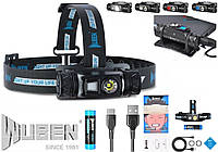 Налобный фонарь WUBEN H1 1200лм IP68 (Osram P9 LED, USB, 3 спектра)+аккумулятор 18650 (круче Nitecore HC65)