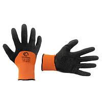 """Перчатка оранжевая вязанная синтетическая, усиленная, покрытая черным вспененым латексом 10"""" INTERTOOL SP-0117"""