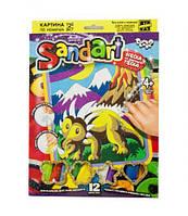 """Фреска из цветного песка """"Sandart"""" Трицератопс SA-01-07 SA-01-01,02,0"""