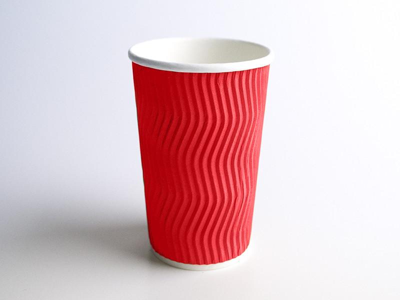 Стакан бумажный гофра волна 430мл 15шт красный