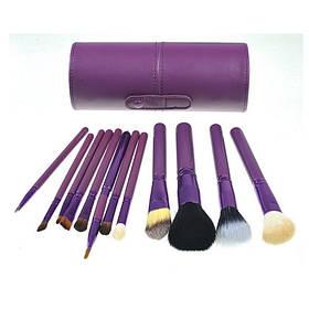 Набір 12 кистей для макіяжу Bananahall у фіолетовому чохлі-тубусі КОД: bnnhll2041