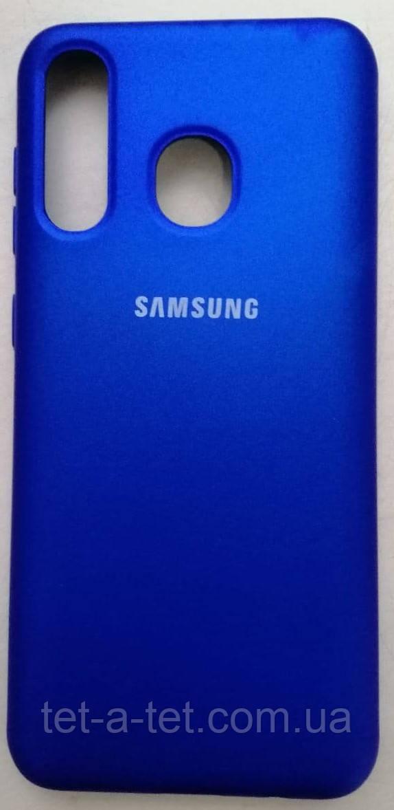 Силиконовый чехол-накладка Color Silk для Samsung A30 Blue