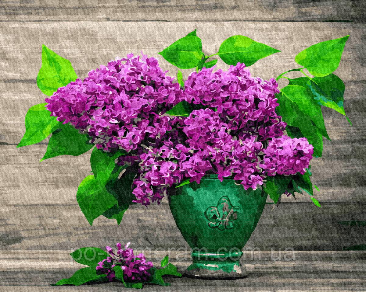 Картина по номерам  Сирень в зеленой вазе (BRM28970) 40 х 50 см