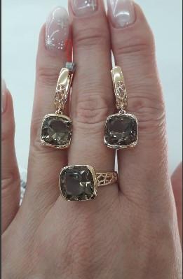 Золотое кольцо с раухтопазом (дымчатым кварцем)