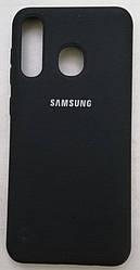 Силиконовый чехол-накладка Color Silk для Samsung A30 Black