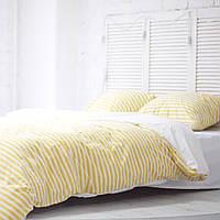 Комплект постельного белья Хлопковые Традиции Евро 200x220 Белый с желтым КОД: PF057_евро