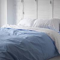 Комплект постельного белья Хлопковые Традиции семейный 200x220 Голубой с белым КОД: PF055_семейный