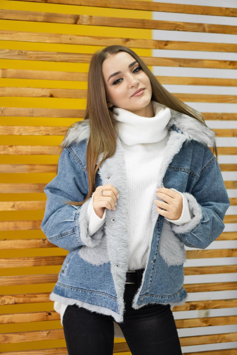 Тепла джинсова зимова жіноча куртка