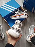 Мужские кроссовки  Yeezy White/Black (реплика), фото 3