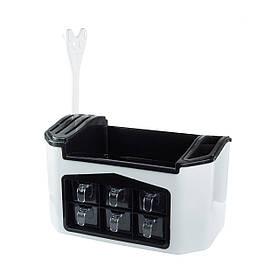 Багатофункціональний контейнер для спецій Supretto 20х37.5х21 см Біло-чорний КОД: 5511