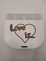 """Коробка для упаковки. Подарочная коробка """"Love is"""" белого цвета из ДВП"""