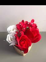 Букет из нежных мыльных роз в коробке фермы сердца, фото 1