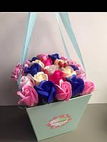 Букет из нежных мыльных роз в коробке, фото 1