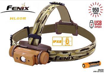 Налобный фонарь Fenix HL60R Gold 950LM+батарея 18650 (Cree XM-L2 U2, IPX8, USB, Red Light) как Nitecore HC60