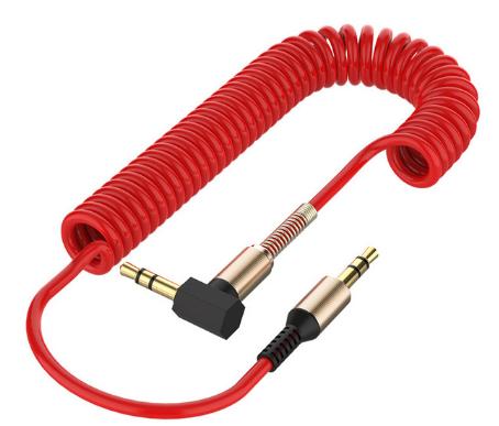 Аудиокабель Llano Aux с пружинкой угловой mini jack 3,5 мм 1 метр Цвет Красный