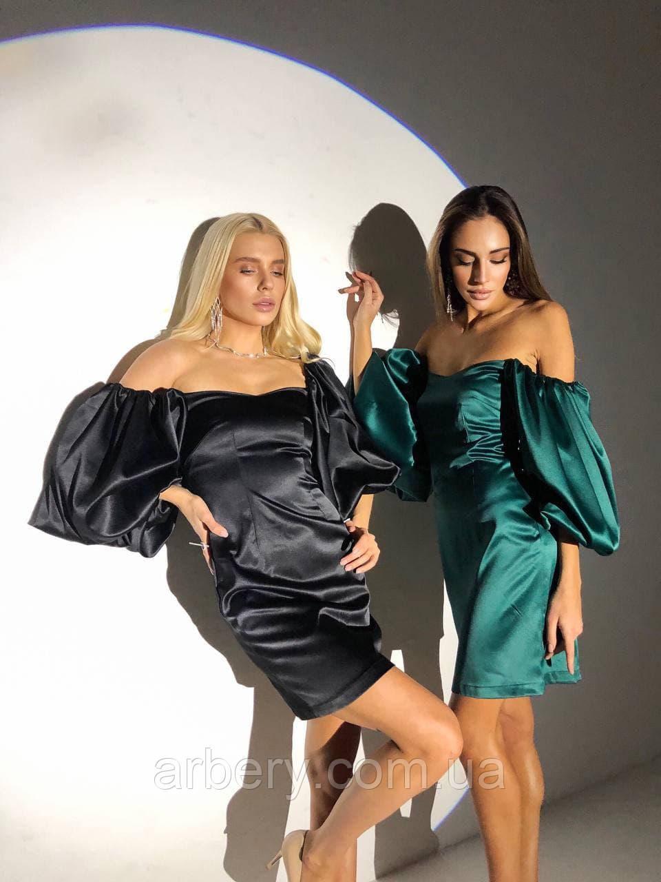 Шикарное атласное платье с пышными рукавами