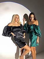 Шикарное атласное платье с пышными рукавами, фото 1