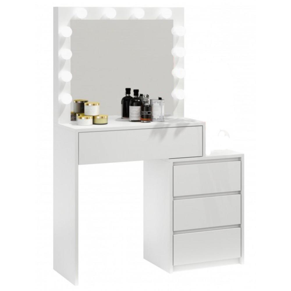 Туалетный Столик косметический трюмо с большим зеркалом с подсветкой на четыре вместительных ящика белый
