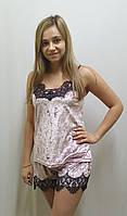 Пижама велюровая с шортами украшена французским кружевом 243