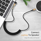 Аудиокабель Llano Aux с пружинкой угловой mini jack 3,5 мм 1 метр Цвет Чёрный, фото 4
