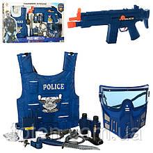 Крутий Поліцейський набір P 013 А автомат-тріскачка, маска, жилет, наручн, бінокль, ніж, кор