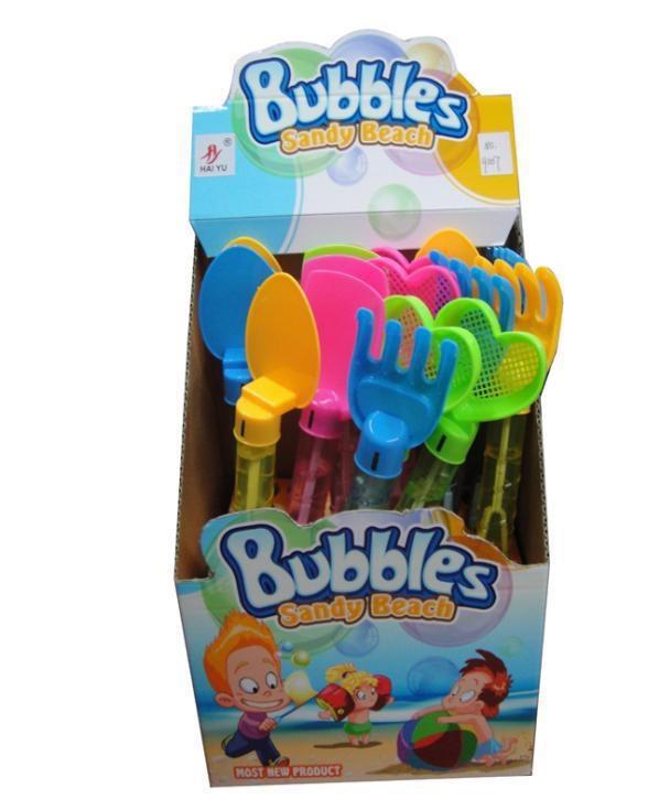 Мильні бульбашки лопатки граблі 4 вида 2 кольори 24 шт в коробці 9007