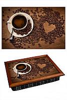 Поднос переносной с подушкой BST 040307 44*36 коричневый Чашка и сердце из зерен КОД: 040307